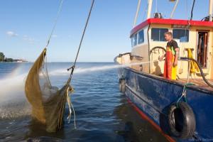 Volendammer palingvisser spuit zijn netten schoon