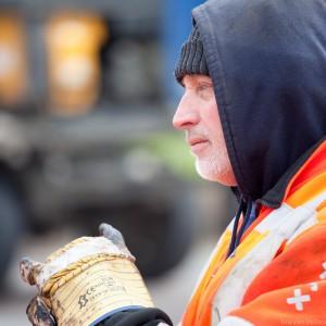 Close-up van Amsterdamse wegwerker